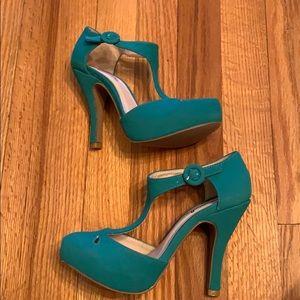 Quipid Faux Suede T-strap heels